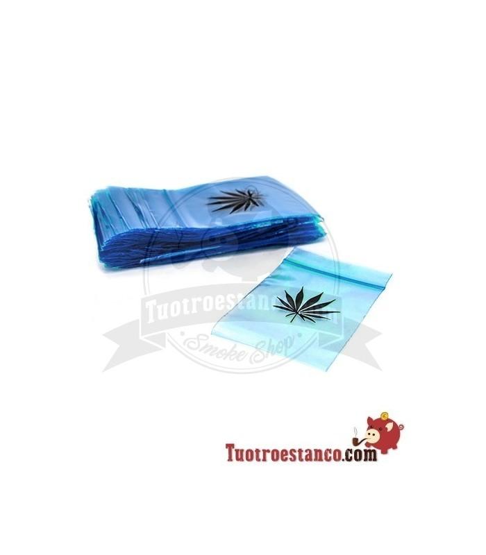 Bolsa Hermetica transparente azul hoja 60x80mm( 1 x100)