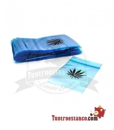 Bolsa Hermética Zip transparente azul hoja 6x8cm 100 bolsitas
