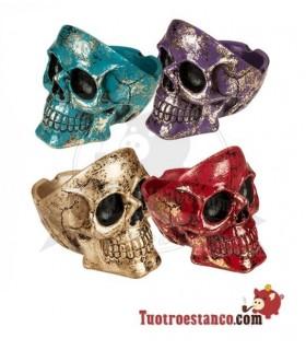 Cenicero Poliresina Skulls Colores Oro