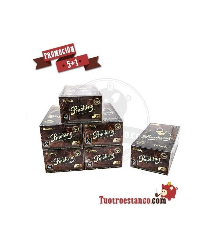 PROMOCIÓN 5 + 1Papel Smoking Marrón Nº8 5 Estuches + 1 Gratis - 300 libritos