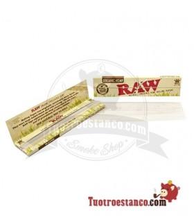 Raw Orgánico King Size. Papel sin cloro, fabricado de las fibras del cáñamo. Medidas del papel de fumar: 110 x 45 mm.