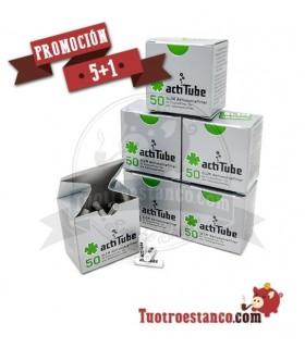 Promoción 5 + 1 Filtros de carbón Actitube Slim 50 unidades