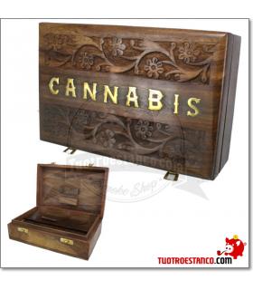 Caja de madera WD 96 Cannabis 22x14 cm