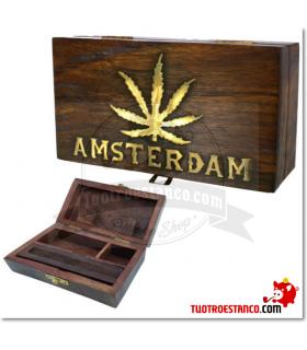 Caja de madera Hoja Amsterdam 15x9cm